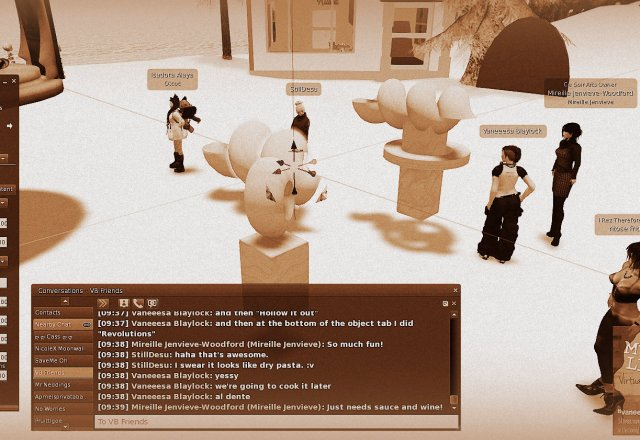 Screen Capture of Twitch.tv live avatar broadcast of 24-hour Vaneeesacam broadcast. In this image avatars are teaching a new user how to build in-world