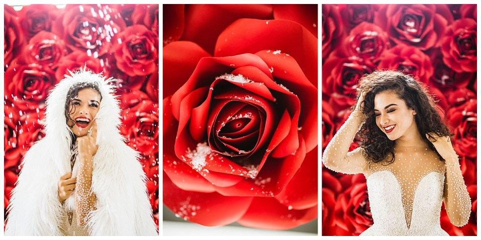 Red Rose Paper Floral Backdrop Wedding Portraits