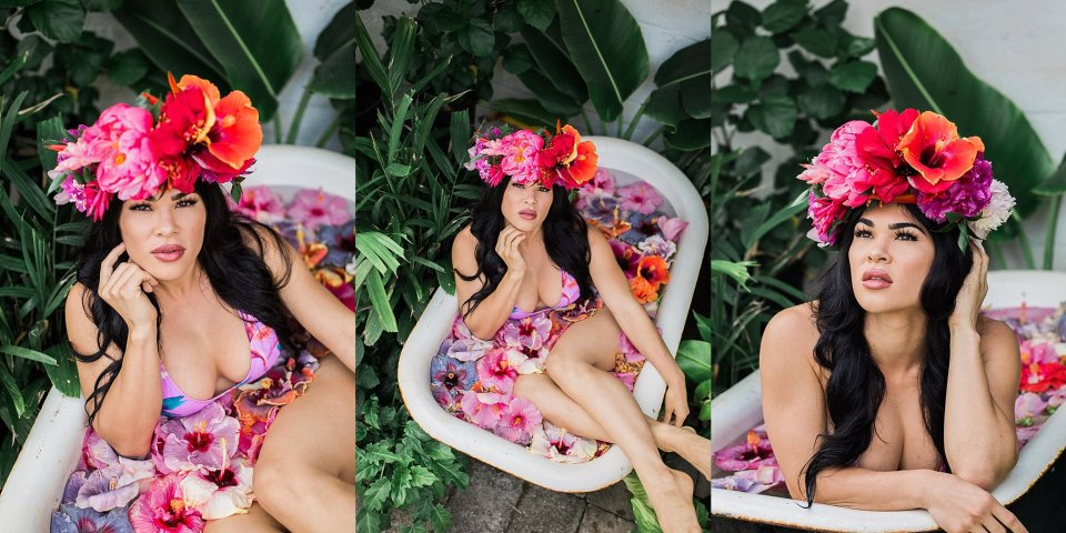Floral Bath Tub Photoshoot in Hawaii