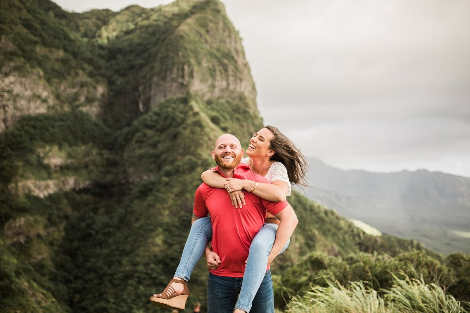 Hawaii Mountaintop Engagement Photos