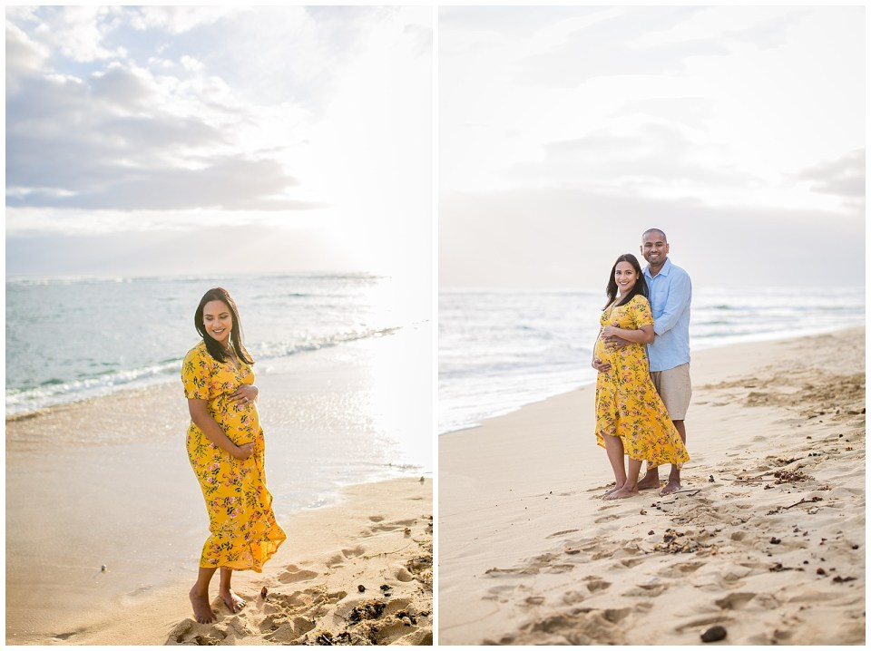 maternity session on the beach at sunset in hawaii