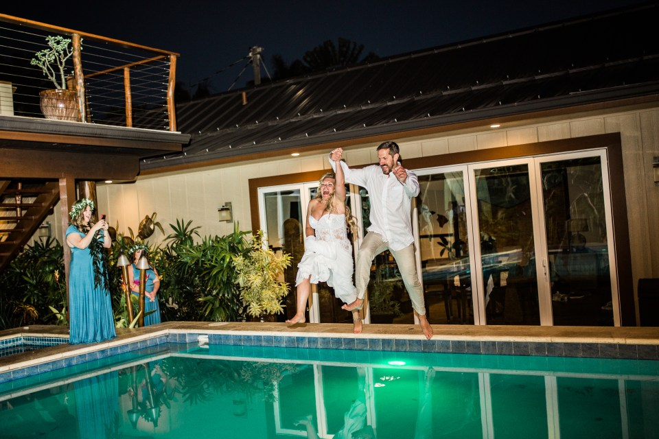 Bride and groom Jumping in Pool!