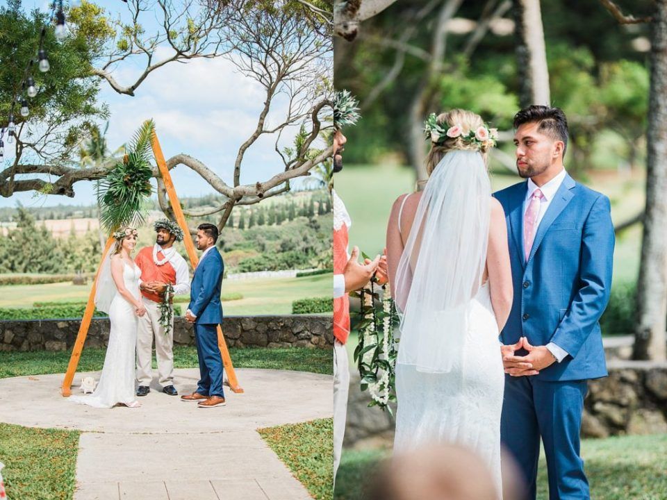 bride and groom getting married in maui at steeple house wedding venue