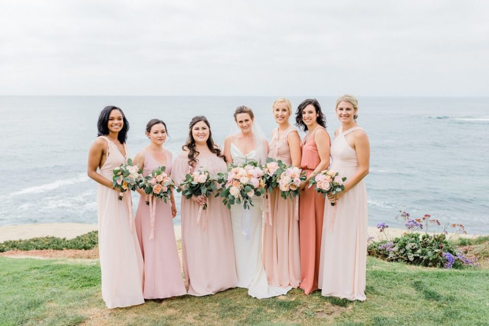 bridal party in colorful dresses