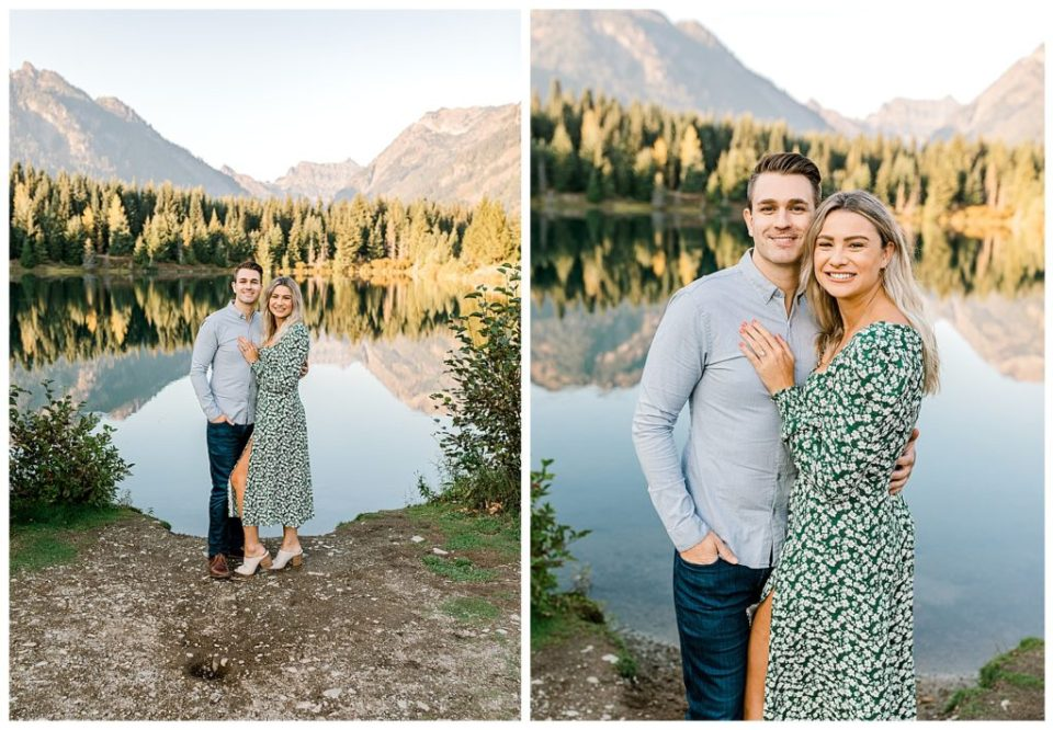 couples engagement session on a lake