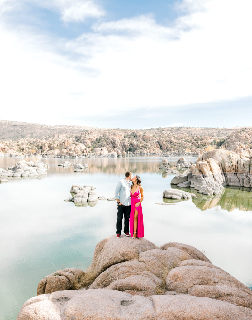 engagement session with hot pink dress
