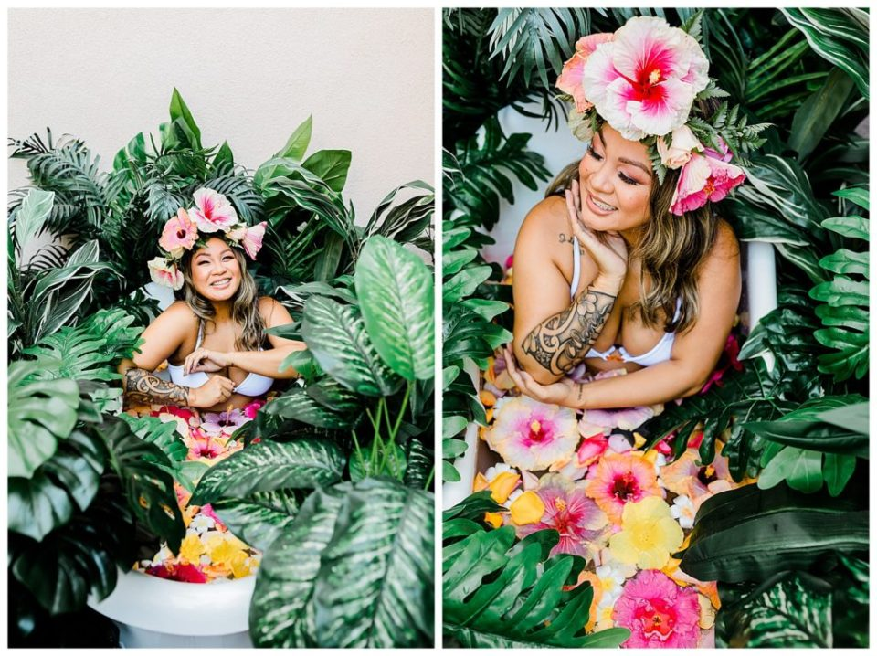 floral tub sessions for maternity shoots