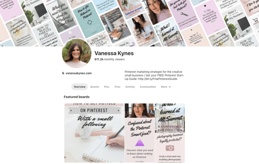 Pinterest Profile for Business Example- Vanessa Kynes