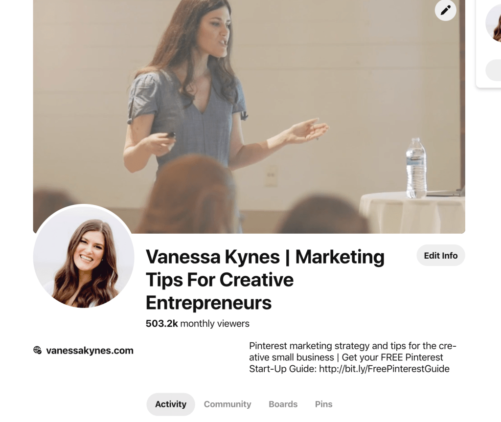 Example of an optimized Pinterest profile- Vanessa Kynes