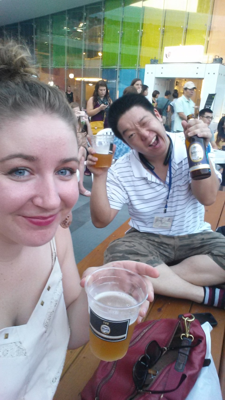 Anthony and I enjoying our beers