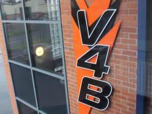 V4B logo outside building