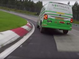 Rob Austin driving the Volkswagen Transporter at the Nürburgring