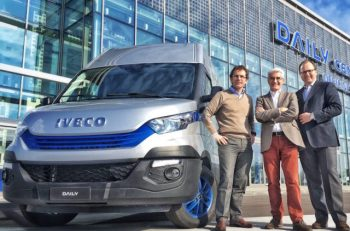 (L-R) Pierre Lahutte, Iveco brand president, Philippe Lambert, JV president BNP Paribas Leasing and Oddone Incisa, president of CNH Industrial Finance Services.