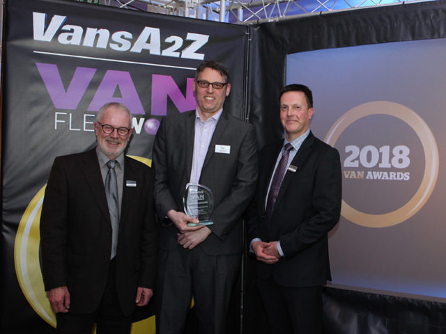 Dean Hedger picks up the award for Best Van Fleet Management, with Neil McIntee (left) and Dan Gilkes (right)