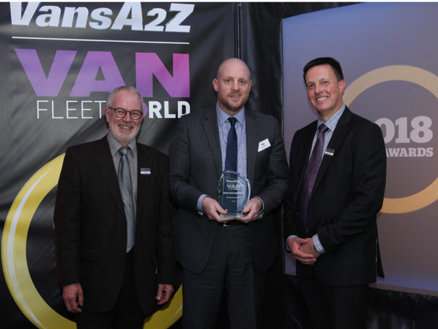 Gary Burns picks up the award for Best Lease Provider, with Neil McIntee (left) and Dan Gilkes (right)
