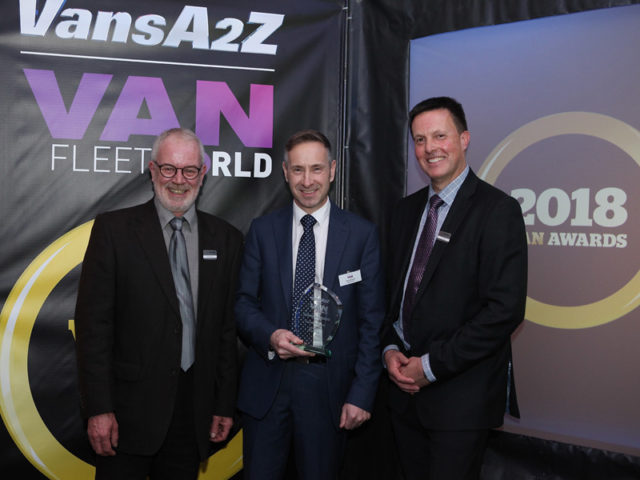 Jim Hannah picks up the award for Best Daily Van Rental, with Neil McIntee (left) and Dan Gilkes (right)