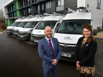 (L-R) Alistair Murray, fleet sales manager, Vauxhall and Mair Jones, transport manager, Tai Tarian