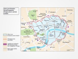 The Ultra-Low Emission Zone covers central London initially, before expanding to include areas bounded by the North and South Circulars in 2021