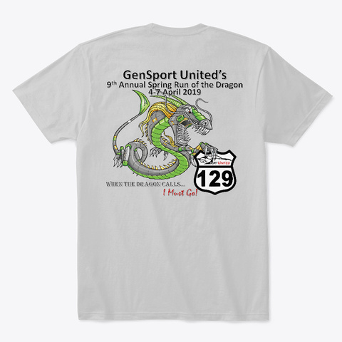 Gsu 2019 Spring Dragon T Shirt V1.0 Light Heather Grey  T-Shirt Back