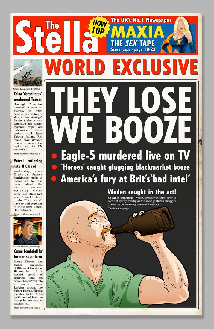 'We Booze, They Lose' – Stella Newspaper
