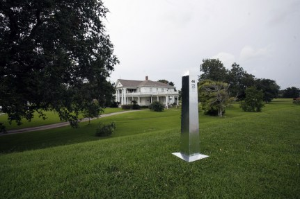 An example of one of the obelisks placed to mark the 1821 border between the US and Mexico for the DeLIMITations project. Photo curtsey of Erre and David Taylor