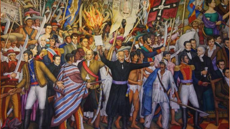 Pintura de la independencia con varios personajes.