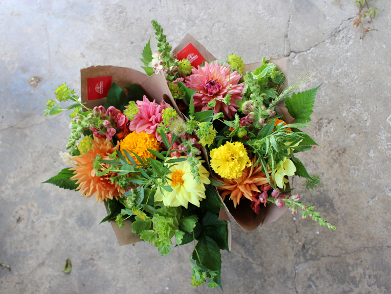 hand-tied bouquet with seasonal local flowers