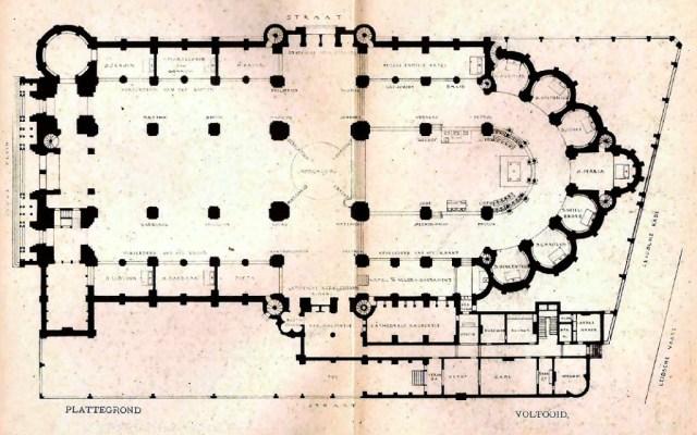 Plattegrond van de nieuwe Bavokathedraal (1898)