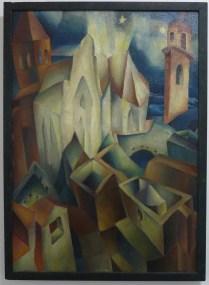 Hugo Landheer (1896-1995), Kerkenlandschap. Tentoonstelling 'Palet van het interbellum', museum De Wieger in Deurne. Foto: Marij Coenen, juni 2014.