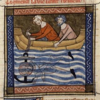 Clemens in de Legenda aurea: de marteldood met het anker.