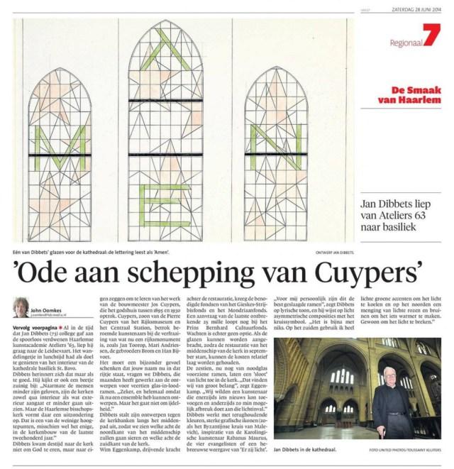 Bavo ramen Dibbets Haarlems Dagblad 2