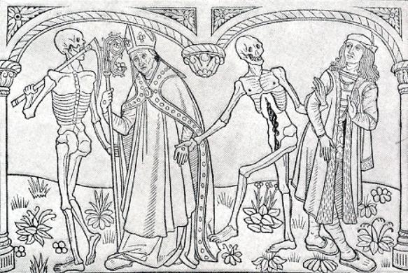 Nicolas in Asselt: De dodendans van Huizinga, ontleend aan Guyot Marchant 1485.