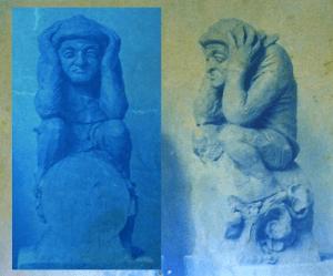 Historische opname van het kleimodel van het poepertje, voordat het in steen gehakt werd. Herkomst Noord-Hollands Archief haarlem, Parochiearchief nieuwe Bavo (collage en foto BvHH 2016 en 2014).