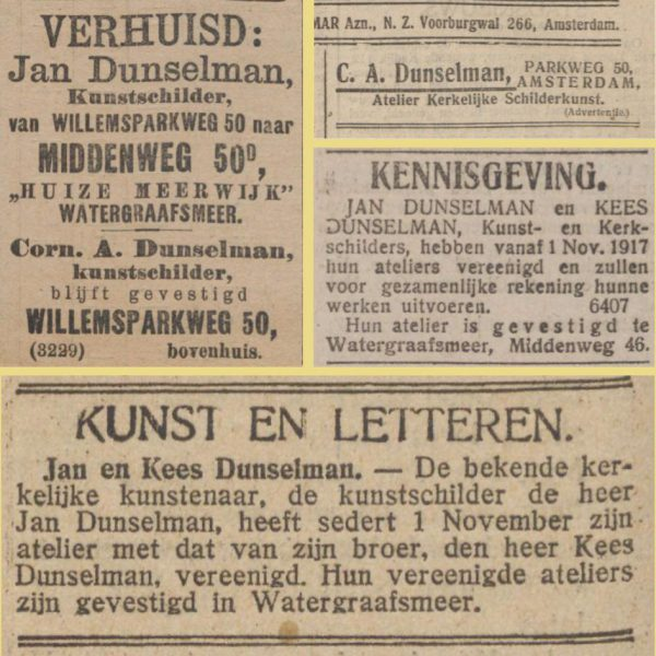 LauElKat2all | Het verloop van de carrière van Kees (C.A.) Dunselman in advertenties. Herkomst Delpher.nl. Collage bvhh.nu 2017.
