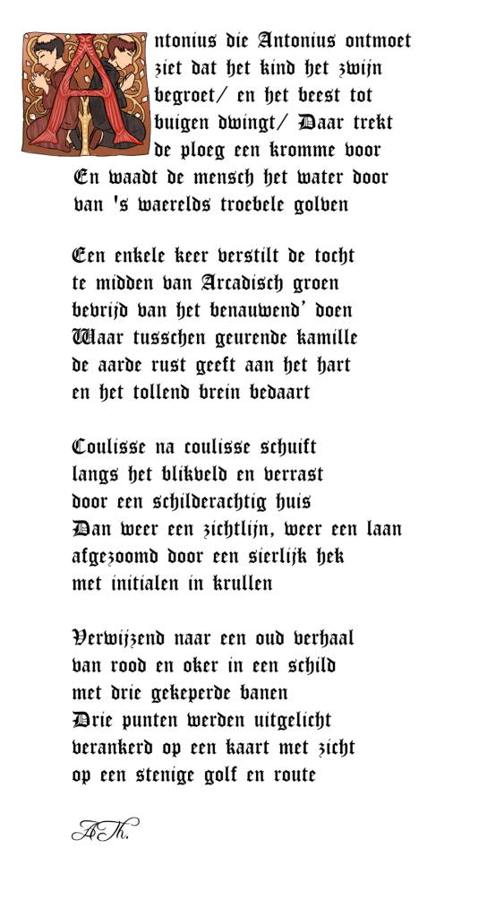 Antonius die Antonius ontmoet. Erfgoedraadsel Cuyperscode met gedicht zogenaamd van A.Th. Lay-out Wolthera.info (1908)