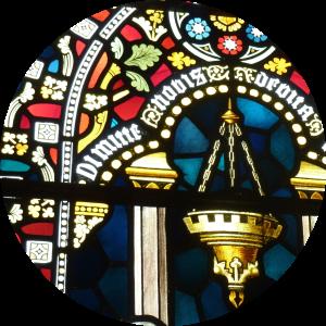 Detail van een van de glazen in de lucida van de nieuwe Bavo van Pierre J.H. Cuypers (figuratie) en Joseph Th.J. Cuypers (ornamenten). Foto BvHH 2015.
