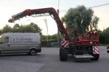 De knolselder wordt rechtstreeks in een wagen of in containers op een wagen gebracht