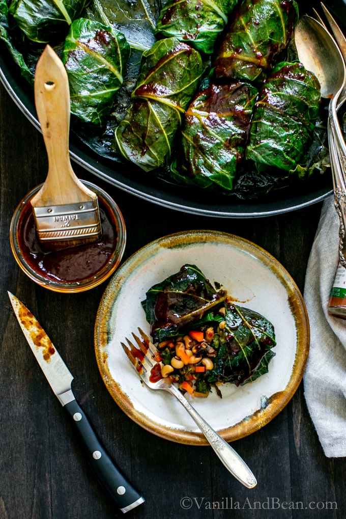 Tangy, hearty and pure comfort food! BBQ Black Eyed Pea Collard Rolls | Vegan, Vegetarian, Recipe