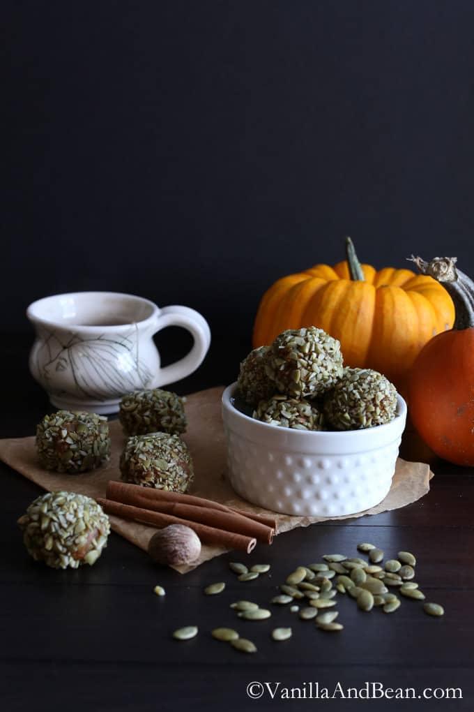 Pumpkin Kasha Energy Bites {GF+V}  Vanilla And Bean