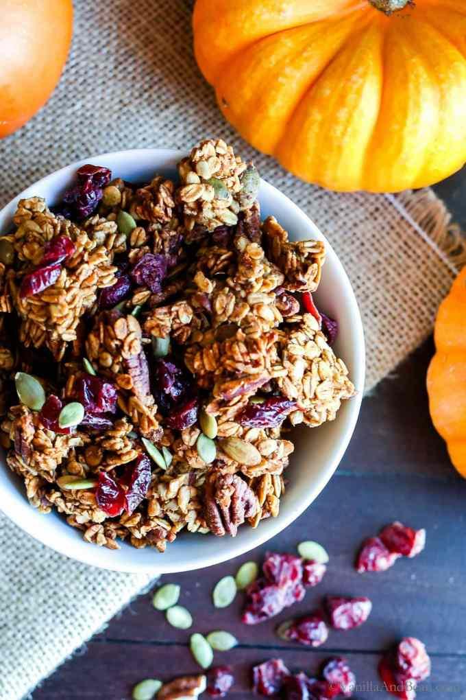 Healthy Pumpkin Maple Pecan Granola