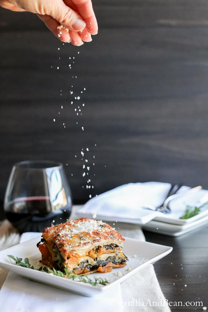 Creamy, with fontina béchamel, warming and pure comfort food, butternut squash and kale lasagna makes a memorable vegetarian main for holidays or special occasions.