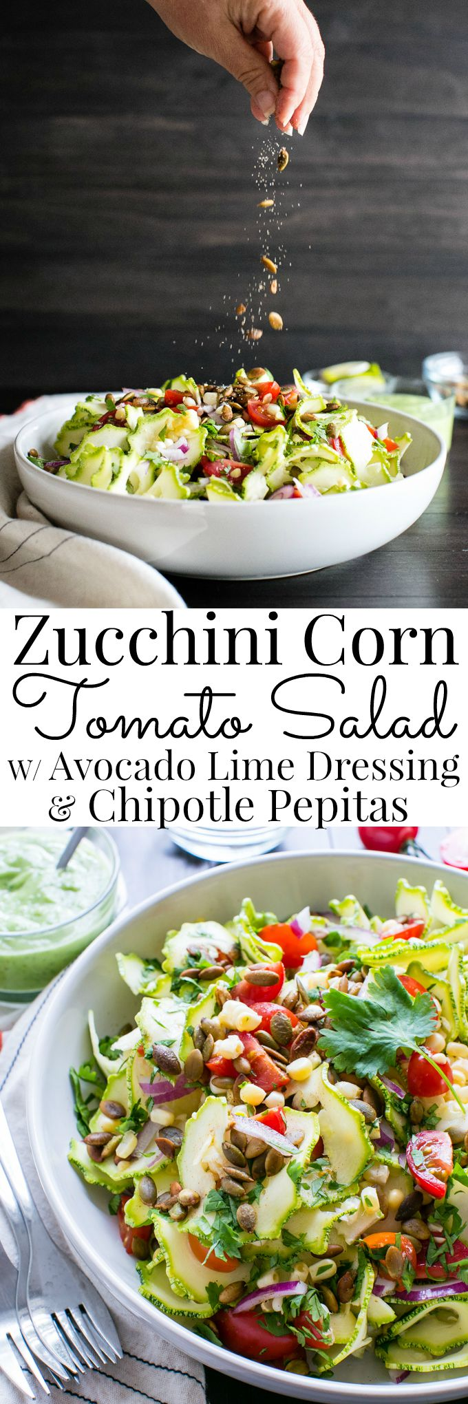 Zucchini Corn Tomato Salad with Avocado Lime Dressing #Vegan | Vanilla And Bean