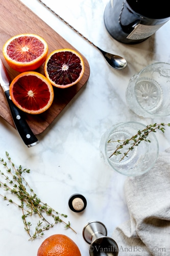 Bubbly, citrusy, refreshing with notes of raspberry and cucumber, Blood Orange Thyme and Gin Cocktail embraces winter's freshest of fruits.