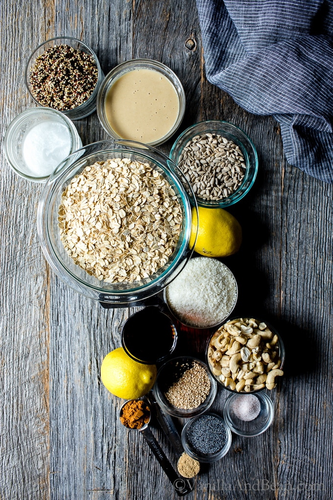 Ingredients for Lemon Tahini Cashew Granola