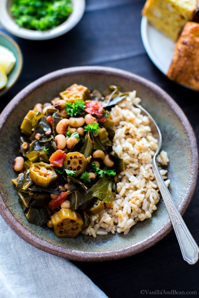 Simple, saucy and over the top texture and flavor in Harissa Stewed Black-Eyed Peas with Okra and Collard Greens; a one pot meal! vegan + gluten free  