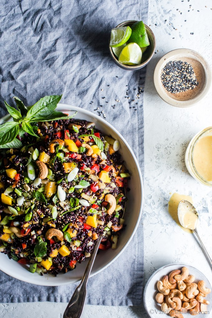 Packed with flavor and simple to makeForbidden Rice Salad with Mango, Bok Choy and Coconut Curried Dressing is meal prep easy, hearty and so satisfying! #VegetarianRecipes #Vegan #GlutenFree