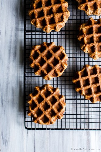Easy weekend mornings or pull from the freezer weekday ready oatmeal waffles? Yes please!Banana-Pecan Oat Waffles are whipped up in the blender or food processor and are freezer friendly. Hooray! #vegan #Eggfree #DairyFree + #glutenfree