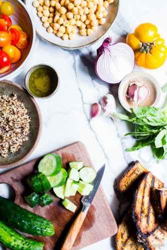 Zesty quinoa salad ingredients