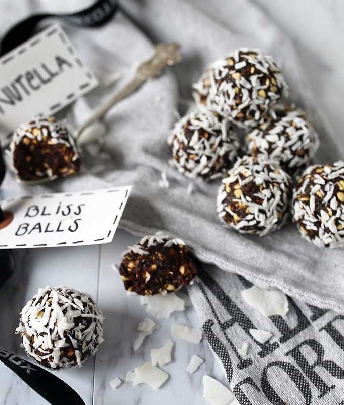 Raw Chocolate Bliss Ball with healthy greens