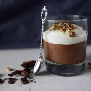 Chocolate mousse with coconut whipped cream